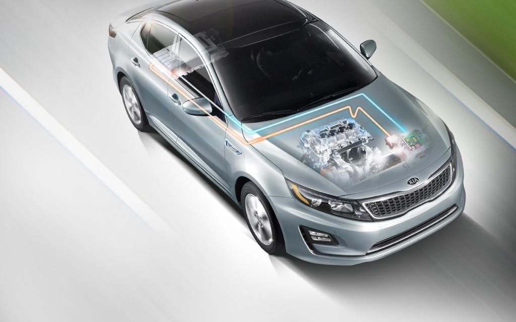 2015 Kia Optima Hybrid powertrain engine motor cutaway